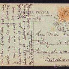 Sellos: ESPAÑA.(CAT.217).1921.T.P.DE SAN SEBASTIÁN A BARCELONA.15 CTS. MAT. * ESTACIÓN/SAN SEBASTIÁN *.RARO.. Lote 24654278