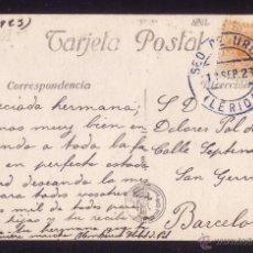 Sellos: ESPAÑA.(CAT. 271).1923.T.P. DE SEO DE URGEL A BARCELONA.15 C. MAT. *SEO DE URGEL/LÉRIDA* AZUL. RARA.. Lote 25236622
