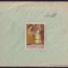 Sellos: ESPAÑA.(CAT.316+VIÑETA).1929.SOBRE DE BARCELONA A FRANCIA.DOS 20 C.VIÑETA DORSO.MAGNÍFICA Y RARA.. Lote 22563354