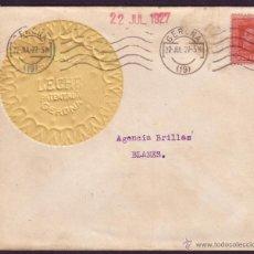 Sellos: ESPAÑA.(CAT.317A).1927.SOBRE DE PUBLICIDAD * S.PLAJA/LECHE PATENTADA * DE GERONA.MAT. RODILLO.RARO. Lote 26169964