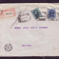 Sellos: ESPAÑA.(CAT.315,319).1929.SOBRE CERTIF. DE MADRID A NUEVA YORK.ETIQUETA CERTIFICADO. CUATRO LLEGADAS. Lote 24840361