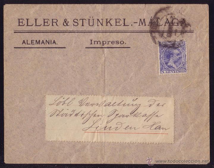 ESPAÑA.(CAT.215).1893.SOBRE DE MÁLAGA A ALEMANIA.FRANQUEO IMPRESOS DE 5 CTS.MUY RARA AL EXTRANJERO. (Sellos - España - Alfonso XIII de 1.886 a 1.931 - Cartas)
