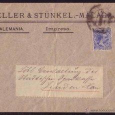 Sellos: ESPAÑA.(CAT.215).1893.SOBRE DE MÁLAGA A ALEMANIA.FRANQUEO IMPRESOS DE 5 CTS.MUY RARA AL EXTRANJERO.. Lote 25574964