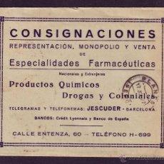 Sellos: ESPAÑA.(CAT.317A).1927.SOBRE DE PUBLICIDAD DEL TEMA *MEDICINA* DE BARCELONA. RARO SOBRE PUBLICITARO.. Lote 24517270