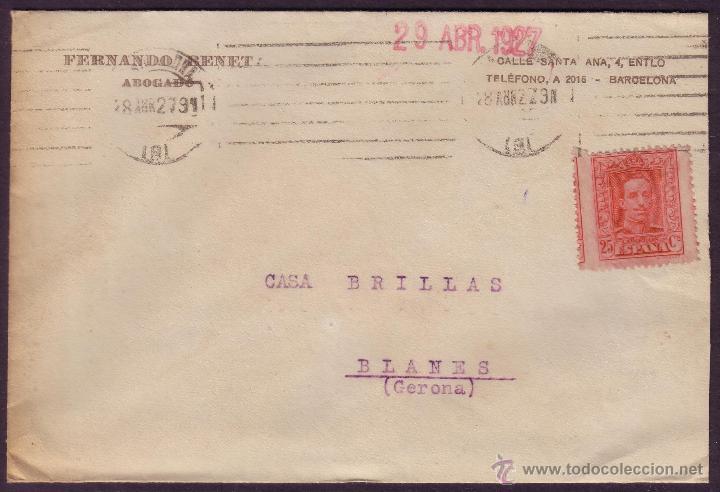ESPAÑA. (CAT. 317A).1927. SOBRE DE BARCELONA. 25 CTS. VARIEDAD DENTADO * SALTO DEL PEINE *.MUY RARA. (Sellos - España - Alfonso XIII de 1.886 a 1.931 - Cartas)