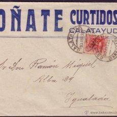 Sellos: ESPAÑA.(CAT. 317).1925. SOBRE PUBLICIDAD DE CALATAYUD A IGUALADA. 25 CTS. MAT. DOBLE CALATAYUD.LUJO.. Lote 22563370