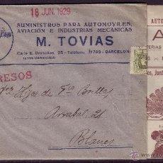 Sellos: ESPAÑA.(CAT.310A).1929.SOBRE PUBLICIDAD AUTOMÓVILES DE BARCELONA. CON PANFLETO DE PUBLICIDAD. M.RARO. Lote 23034297