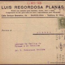 Sellos: ESPAÑA. (CAT. 310A). 1928. SOBRE DE BARCELONA A BLANES. 2 CTS. IMPRESOS. MAT. EXPOSICIÓN GENERAL.... Lote 37437533