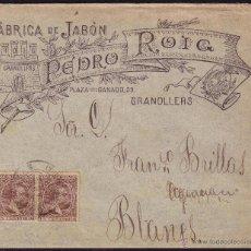 Sellos: ESPAÑA. (CAT. 219 (2)). 1896. SOBRE DE PUBLICIDAD DE GRANOLLERS (BARCELONA). DOS 15 CTS. MUY RARO.. Lote 37491814