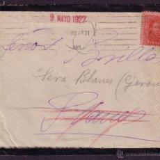 Sellos: ESPAÑA. (CAT. 317A).1927. SOBRE LUTO DE BARCELONA. MANDADA POR ERROR A *PLANES/ALICANTE*. MUY RARA.. Lote 26170011
