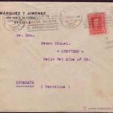 Sellos: ESPAÑA. (CAT. 317A). 1928. SOBRE DE SEVILLA. 25 CTS. VARIEDAD LÍNEAS DE COLOR. LLEGADA. MUY RARA.. Lote 27597610