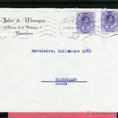Sellos: CARTA JULIA & MORAGAS, BARCELONA A SUECIA 1927, SELLOS ALFONSO XIII TIPO MEDALLON 20 CTS. EDIFIL 273. Lote 40736265