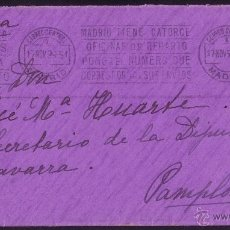 Sellos: ESPAÑA.(CAT.317).1926.SOBRE DE MADRID A PAMPLONA.25 C. VAQUER. MAT. RODILLO PUBLICITARIO DE MADRID.. Lote 26213488