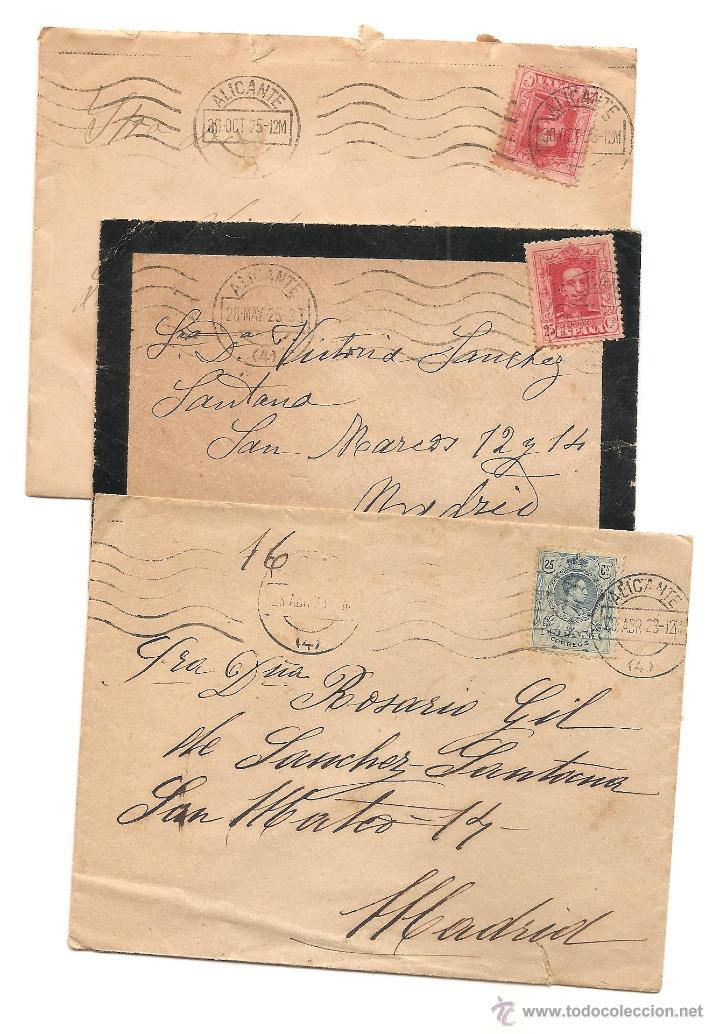 LOTE 3 CARTAS CIRCULADAS DE ALICANTE A MADRID AÑOS 1923 Y 1925 (2) (Sellos - España - Alfonso XIII de 1.886 a 1.931 - Cartas)