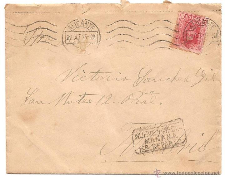 Sellos: LOTE 3 CARTAS CIRCULADAS DE ALICANTE A MADRID AÑOS 1923 Y 1925 (2) - Foto 2 - 40779849