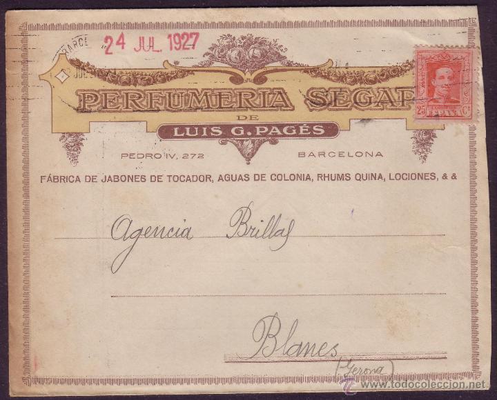 ESPAÑA. (CAT. 317A). 1927.SOBRE PUBLICIDAD PERFUMERIA DE BARCELONA. 25 C. VAQUER. LLEGADA. MUY RARO. (Sellos - España - Alfonso XIII de 1.886 a 1.931 - Cartas)