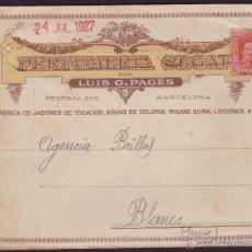 Sellos: ESPAÑA. (CAT. 317A). 1927.SOBRE PUBLICIDAD PERFUMERIA DE BARCELONA. 25 C. VAQUER. LLEGADA. MUY RARO.. Lote 26170065