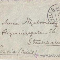 Sellos: SOBRE CIRCULADO DE SEVILLA A SUECIA. 1911 25 CTS MEDALLÓN. AL DORSO LLEGADA.. Lote 41021182