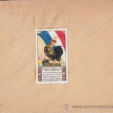 Sellos: IRÚN. 1918. SOBRE CIRCULADO CON PRECIOSA VIÑETA PRO PATRIA FRANCÓFILA. ESTAFETA DE CAMBIO. MEDALLÓN. Lote 41036641