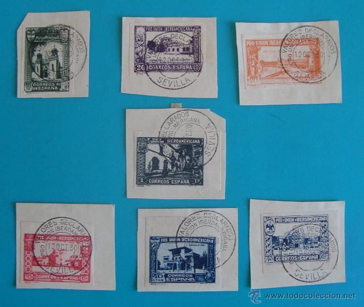 SELLOS PRO UNION IBEROAMERICANA SIN DENTAR 1930 CIRCULADOS (Sellos - España - Alfonso XIII de 1.886 a 1.931 - Usados)
