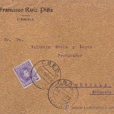 Sellos: SOBRE CIRCULADO DE ÚBEDA (JAEN) A CHINCHILLA (ALBACETE). 15 CTS. CADETE. AÑO 1909.. Lote 41127521