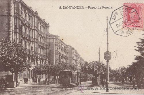 BONITA POSTAL DE SANTANDER. CIRCULADA CON MATASELLOS AMBULANTE. 1929 (Sellos - España - Alfonso XIII de 1.886 a 1.931 - Cartas)