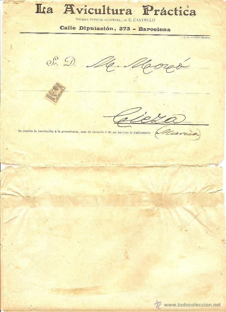 FAJA CIRCULADA DE LA REVISTA LA AVICULTURA PRÁCTICA - BARCELONA - PRINCIPIOS SIGLO XX (Sellos - España - Alfonso XIII de 1.886 a 1.931 - Cartas)