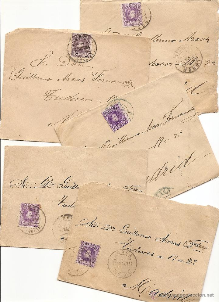LOTE DE 5 CARTAS CIRCULADAS DE LORCA (MURCIA) A MADRID PRINCIPIOS SIGLO XX - SELLO 15 CENT CADETE (Sellos - España - Alfonso XIII de 1.886 a 1.931 - Cartas)