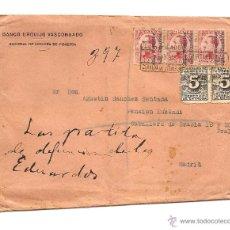 Sellos: CARTA CIRCULADA AÑO 1931 DEL BANCO URQUIJO VASCONGADO SUCURSAL DE CERVERA DEL PISUERGA (PALENCIA) . Lote 41294692