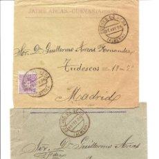 Sellos: LOTE 2 CARTAS CIRCULADAS DE CUEVAS DE VERA (ALMERÍA) A MADRID AÑOS 1905 Y 06 - JAIME ARCAS. Lote 41368915