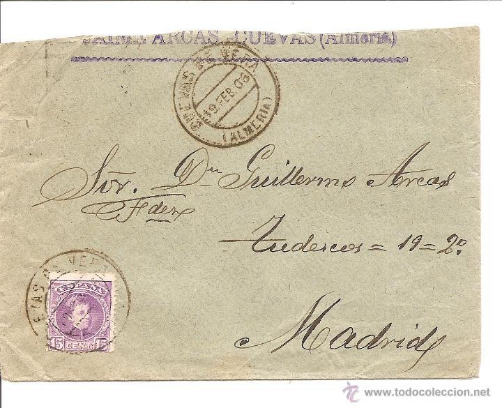 Sellos: LOTE 2 CARTAS CIRCULADAS DE CUEVAS DE VERA (ALMERÍA) A MADRID AÑOS 1905 Y 06 - JAIME ARCAS - Foto 2 - 41368915