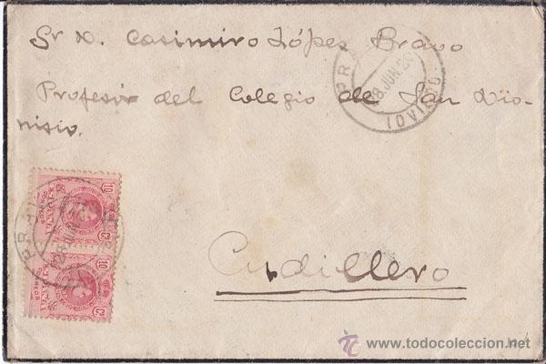 SOBRE DE LUTO DE PRAVIA A CUDILLERO (ASTURIAS) PAREJA 10 CTS. MEDALLÓN. 1920 (Sellos - España - Alfonso XIII de 1.886 a 1.931 - Cartas)