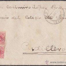 Sellos: SOBRE DE LUTO DE PRAVIA A CUDILLERO (ASTURIAS) PAREJA 10 CTS. MEDALLÓN. 1920. Lote 41416658