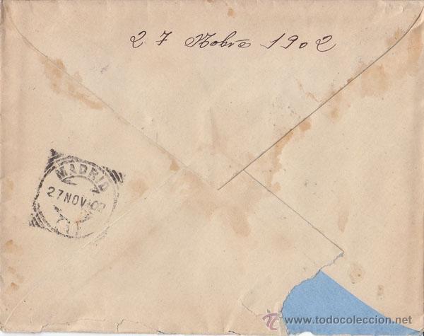 Sellos: SOBRE CON CARTERIA SALAMANCA ESPEJA. AÑO 1902. LUJO. AL DORSO LLEGADA - Foto 2 - 41416732