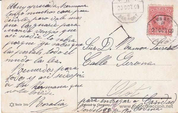 POSTAL CIRCULADA A OLOT CON MATASELLOS AMBULANTE BARCELONA PORT. AÑO 1909 SELLO 10 CTS CADETE (Sellos - España - Alfonso XIII de 1.886 a 1.931 - Cartas)