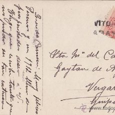 Sellos: POSTAL CON CARTERIA VITORIA ARAYA. 1911. 10 CTS MEDALLÓN. Lote 41452349