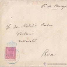 Sellos: SOBRE 1896. SELLO CONGRESO DIPUTADOS. A ROA (BURGOS) CON CARTA CIRIACO LAGUNA.. Lote 41617452