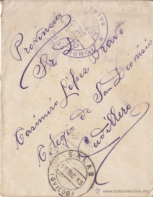 SOBRE DE SALAS A CUDILLERO (ASTURIAS) CON FRANQUICIA DE LA ADMINISTRACIÓN DE CORREOS. 1913. (Sellos - España - Alfonso XIII de 1.886 a 1.931 - Cartas)