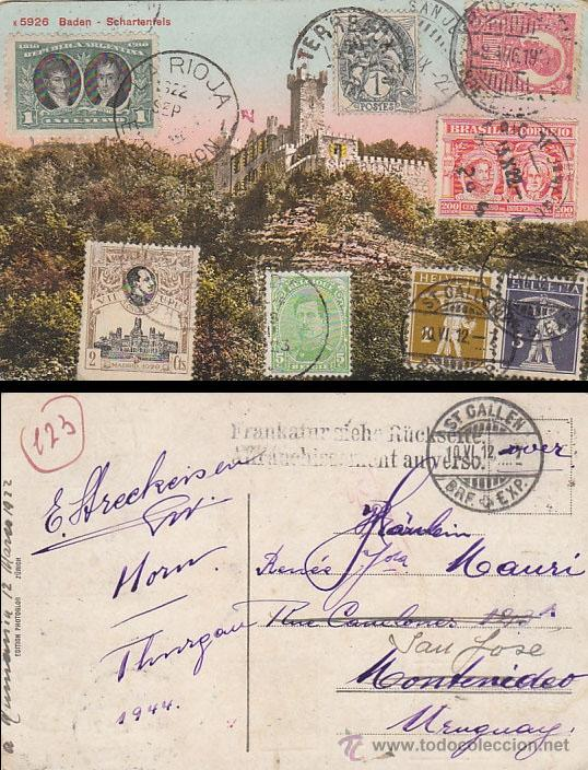 TARJETA ALEMANA CON FRANQUEO DE ESPAÑA, ARGENTINA, FRANCIA, RUMANIA, BRASIL, BELGICA Y SUIZA. RARO Y (Sellos - España - Alfonso XIII de 1.886 a 1.931 - Cartas)