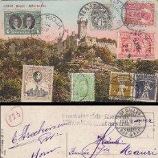 Sellos: TARJETA ALEMANA CON FRANQUEO DE ESPAÑA, ARGENTINA, FRANCIA, RUMANIA, BRASIL, BELGICA Y SUIZA. RARO Y. Lote 41709948