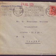 Sellos: ESPAÑA. (CAT.317A). 1929. SOBRE DE GERONA A BLANES.25 CTS. MAT. RODILLO PUBLICITARIO. RARO.. Lote 42352290