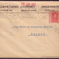 Sellos: ESPAÑA. (CAT. 317). 1927. SOBRE DE BARCELONA. 25 CTS. DENTADO DESPLAZADO. MAT. RODILLO. MUY BONITO.. Lote 42371656