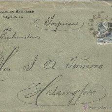 Sellos: MALAGA CC A FINLANDIA SELLO ALFONSO XIII PELON. Lote 42390914