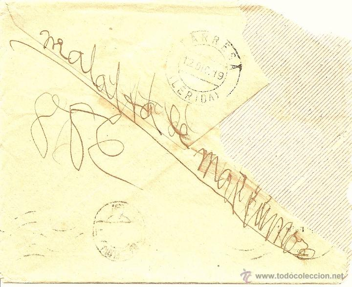 Sellos: COMANDANCIA DE ARTILLERÍA DE MENORCA, 8 BATERÍA DE PLAZA, LA MOLA - CIRCULADA A TÁRREGA (LÉRIDA)1919 - Foto 2 - 43264547