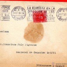 Sellos: . CARTA SOCIEDAD DE CEMENTOS GRIFFI VILLANUEVA Y GELTRU. Lote 43661887