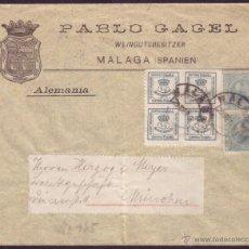 Sellos: ESPAÑA. (CAT.173A,213). 1897. SOBRE DE MÁLAGA A ALEMANIA. 4/4 CTOS. VARIEDAD DENTADO Y 2 CTOS. PELÓN. Lote 43791672