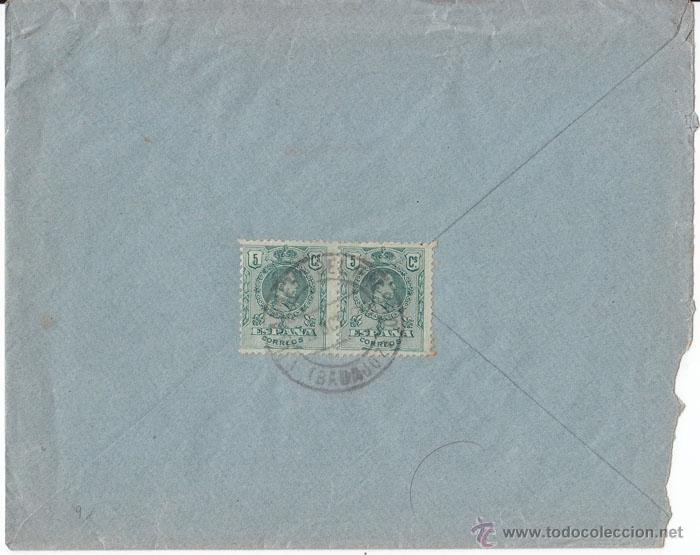 SOBRE A PORTUGAL. VILLANUEVA DEL FRESNO (BADAJOZ) PAREJA 5 CTS MEDALLÓN. 1922 (Sellos - España - Alfonso XIII de 1.886 a 1.931 - Cartas)