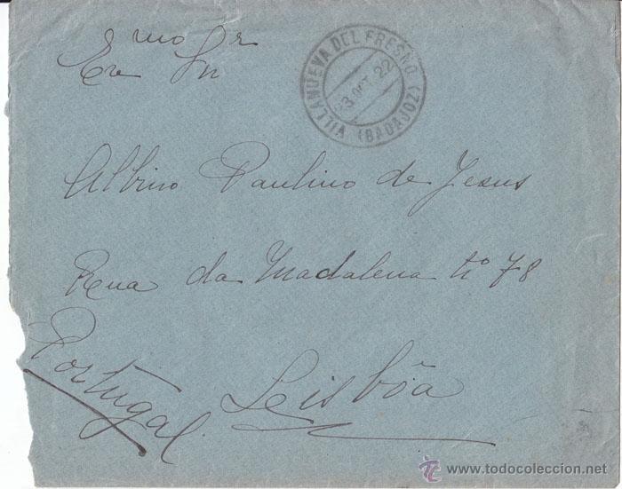 Sellos: SOBRE A PORTUGAL. VILLANUEVA DEL FRESNO (BADAJOZ) PAREJA 5 CTS MEDALLÓN. 1922 - Foto 2 - 44300930