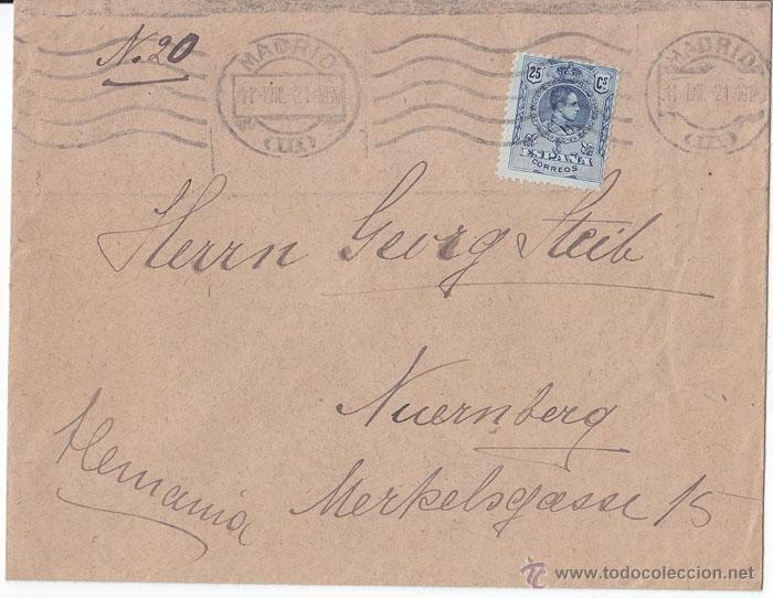 SOBRE CIRCULADO DE MADRID A ALEMANIA. 25 CTS AZUL MEDALLÓN. 1921. (Sellos - España - Alfonso XIII de 1.886 a 1.931 - Cartas)