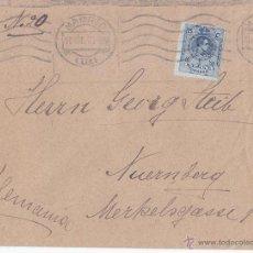 Sellos: SOBRE CIRCULADO DE MADRID A ALEMANIA. 25 CTS AZUL MEDALLÓN. 1921.. Lote 44301328